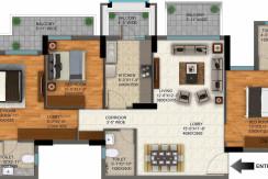 DLF Regal Gardens Floor Plan (3BHK+3T 1720 Sq Ft)