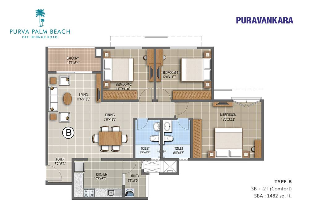 Apartment for sale purva palm beach luxurious 3 bhk for Apartment plans for sale