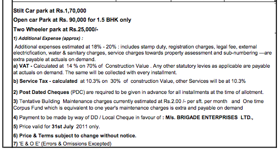 Brigade Meadows Price - Other Terms & Conditions