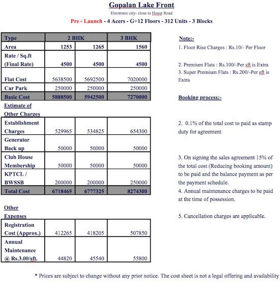 Gopalan Lake Front Cost Sheet